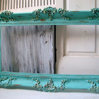 Large Aqua Ornate Vintage Frame, Aqua Blue Open Frame, Shabby Chic Distressed Frame, Detailed Frame