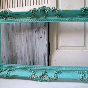 large aqua ornate vintage frame aqua blue open frame shabby chic distressed frame