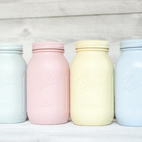 Pastel Painted mason jars Easter, baby shower, and party decor. Perfect pastel wedding centerpiece.