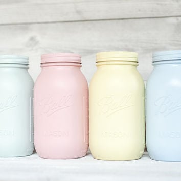 Pastel Painted Mason Jars Easter Baby Shower And Party Decor Perfect Wedding
