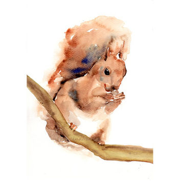 Squirrel, Animal Art Watercolor Painting Giclee Print Aquarelle Woodland Home Decor