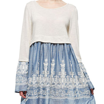 Embroidered Bell Sleeve Babydoll Dress