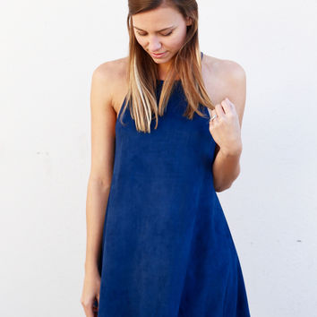 Midnight Blue Suede Dress