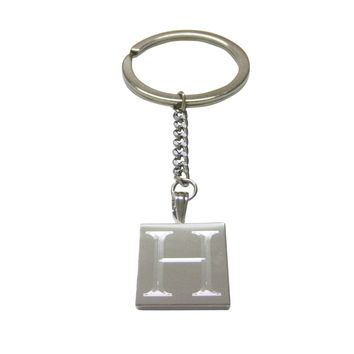 Letter H Etched Monogram Pendant Keychain