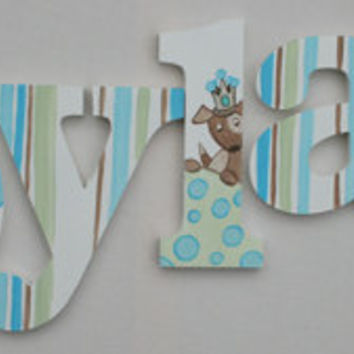 Doggie Themed Wooden Wall Name Letters / Hangings, Hand Painted for Boys Rooms, Play Rooms and Nursery Rooms