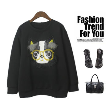 Winter Vintage Casual Glasses Cats Cotton Hoodies [4918273668]