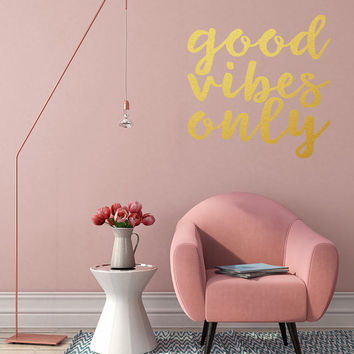 Wall Decal, Good vibes only, motivational quote, inspirational, positivity, typography, wall quote, wall sticker, scandi living, feel good