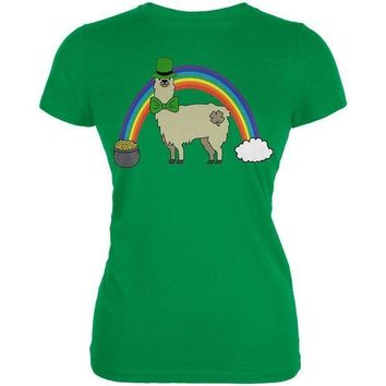 CREYCY8 St. Patrick's Day Llama Cute Pot Of Gold Juniors Soft T Shirt