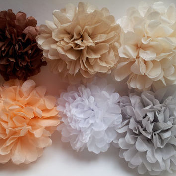 Set of 6 wedding tissue paper pom poms-tissue pom poms-tissue poms-pompoms-poms-hanging poms-party poms-paper flower-tissue paper balls