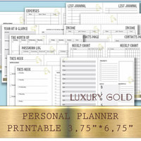Personal organizer planner binder weekly starter kit pad mtn inserts month at a glance week on two pages personal Gold Planner for men