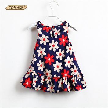 JOMAKE Kids Dresses for Girls Dress 2018 New Summer Girl Princess Dress Floral Sleeveless Beach Dress Easter Lucky Child Clothes