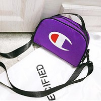 Champion Fashion New Logo Print Women Men Women Men Shoulder Bag Purple