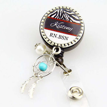 Monogram ID  Badge Reel Clip ,Dream catch badge reel,Nurse  Badge Reel , Custom Name  id clips  ,Can  made necklace,Keychain,RN ID Clips