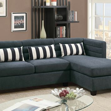 Poundex F6994 2 pc Manhattan II collection slate velveteen fabric upholstered sectional sofa with reversible chaise