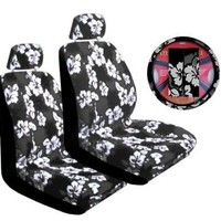 Charcoal Universal-fit Hawaiian Hibiscus Floral Print Low Back Front Bucket Seat Cover with Separate Headrest Cover, Steering Wheel Cover and Shoulder Seat Belt Pads Combo