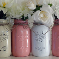 Mason Jars, Ball jars Quart size, Painted Mason Jars, Flower Vases, Rustic Wedding Centerpieces Red Grapefruit White and Wheat