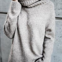 Pavacat Casual Knit High Neck Loose Sweater