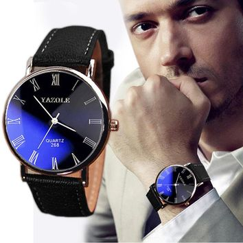 Lovesky 48745 Men's Luxury Business Wrist Watch With Faux Leather Strap and Quartz Analog Face