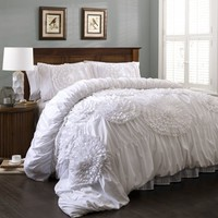 Calliope Rose 3 PC White Flower Ruffle Comforter Bedding SET
