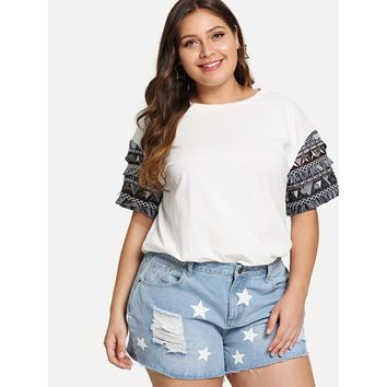 Plus Embroidered And Fringe Tape Detail T-shirt