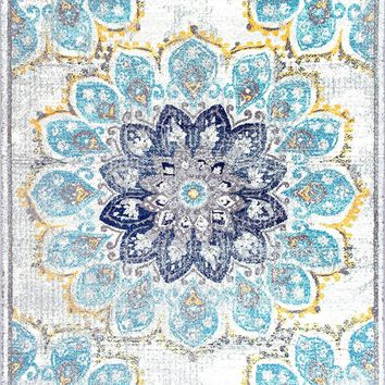 9937 Blue Medallion Distressed Contemporary Area Rugs