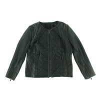 Stories...by Kelly Osbourne Womens Faux Leather Collarless Motorcycle Jacket