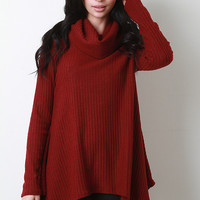 Rib Knit Shark Bite Hem Cowl Top
