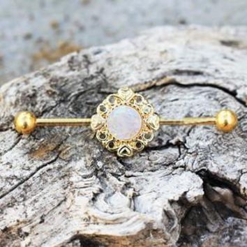 Gold Plated Vintage Charm Industrial Barbell With Synthetic Opal
