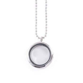 30mm 316L Stainless Steel Magnetic Glass Floating Charm Lockets Pendant Necklace For DIY Memory Locket necklace Imitation