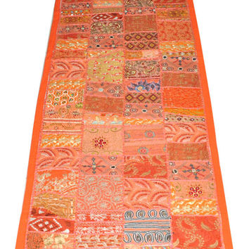 "60x20"" handmade sari patchwork tapestry Indian vintage decorative wall hanging table throw, Table Cloth runner, ethnic gypsy wall Hanging"