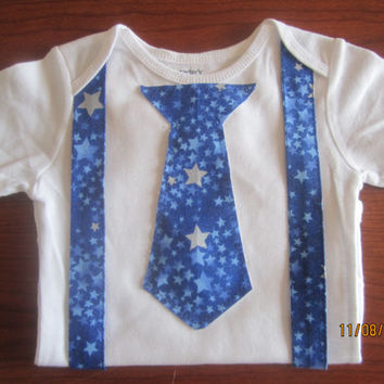 Boy blue star suspender outfit, Baby neck tie Onesuit, boy blue star neck tie outfit, boy blue neck tie Onesuit, boy blue star Onesuit
