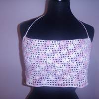 Crochet halter top, heart halter top, beach top, free shipping USA