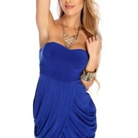 Royal Blue Pleated Tulip Hem Party Dress