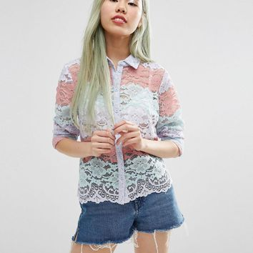 ASOS | ASOS Pastel Stripe Lace Print Blouse at ASOS