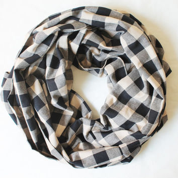 black plaid scarf,infinity scarf, scarf, scarves, long scarf, loop scarf, gift