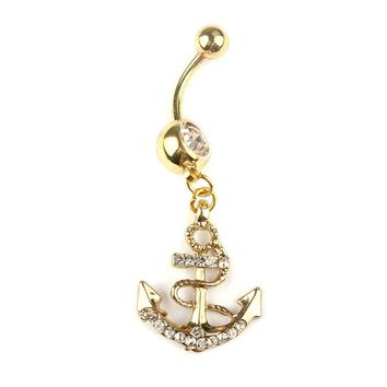 Anchors Dangle Belly Button Rings Body Piercing Gold Sexy Navel rings