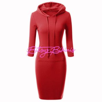 Fashion Women's Dress Casual Long Sleeve Hoodie Hooded Jumper Pockets Three Quarter Long Straight S~XXL Cotton Dress #LSIN