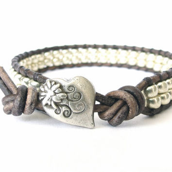 Hipster leather wrap bracelet, gift for best friend, Japanese miyuki beads in galvanised metallic silver, boho jewelry