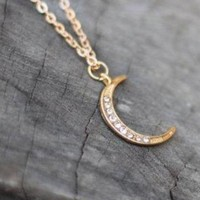 Jeweled Crescent Moon Necklace