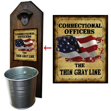 Correctional Officer Bottle Opener and Cap Catcher, Wall Mounted