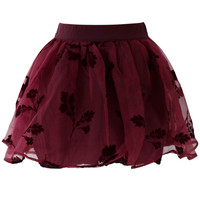 Wine Red Beloved Organza and Crepe Skort Red