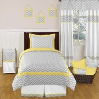 Sweet Jojo Designs Zig Zag Chevron Bedding Set - Yellow/Gray