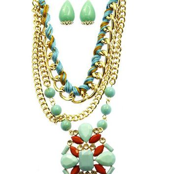 Turquoise and Coral Lucite Stone Multi Chain Necklace And Earring Set