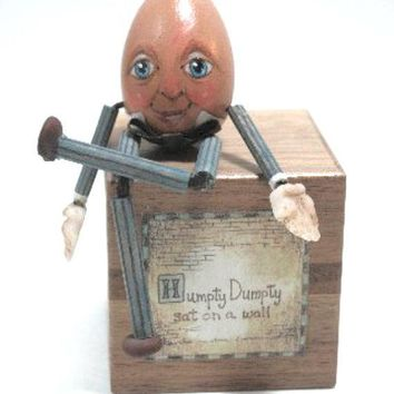Humpty Dumpty Wood Egghead Sitting On Block With Poem On Sides Of Block