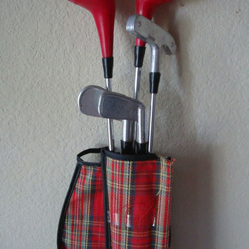 Vintage Child's Golf Clubs From The 1960s Plaid
