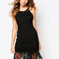 Goldie Strappy Scopped Back Shift Dress In Crochet Lace With Tassel Hem