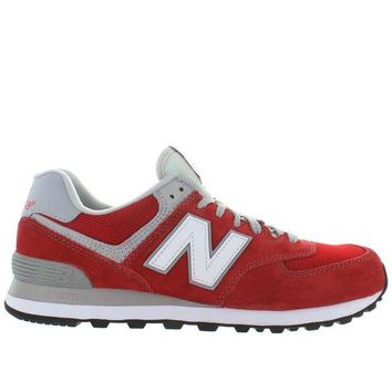 LMFON new balance 574 red suede mesh classic running sneaker