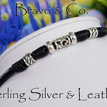 N-005 Bravo Collection Sterling Silver & Leather Cord New Choker Men Necklace