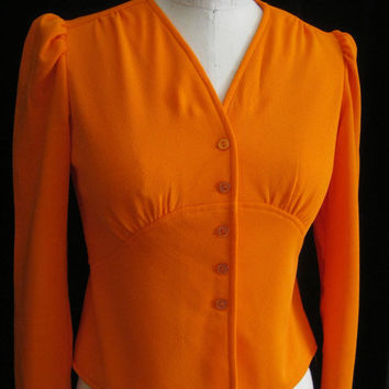 Vintage 70s Disco Era Tie-Back TOP Blouse  BOHO Fitted Midriff  Bust 34""