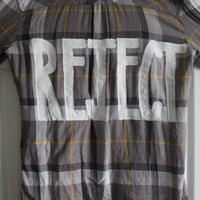"""5 Seconds of Summer 5SOS Inspired """"REJECT"""" Plaid Shirt Womens XL"""